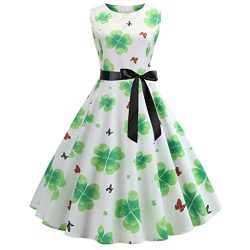 EuoneDress Clearance Sales, St. Patrick's Day Women Vintage 1950s Retro Shamrock Sleeveles ...