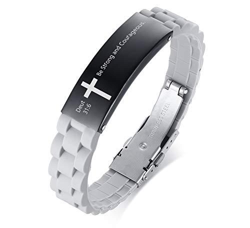 MEALGUET Be Strong and Courageous Deut 31:6 Inspirational Christian Bibe Verse ID Bracelet,Relig ...