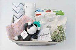 8 Piece Baby Girl Shower Gift Basket Set – Organic Cotton Bamboo Muslin Swaddle, Plush Ani ...