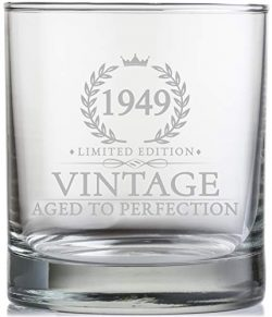 70th Birthday Gifts for Men Turning 70 Years Old – 11 oz. Vintage 1949 Whiskey Glass ̵ ...