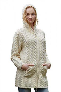 100% Irish Merino Wool Ladies Hooded Aran Zip Sweater Coat Natural M