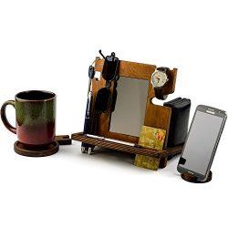 Wooden Docking Station, Desk organizer For Smartphone, Tablet, Watch, Wallet, Shades, Keys Coins ...