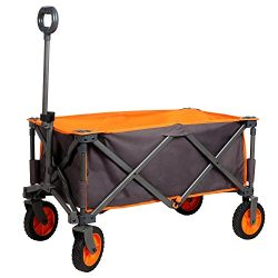 PORTAL Collapsible Folding Utility Wagon Quad Compact Outdoor Garden Camping Cart Support up to  ...
