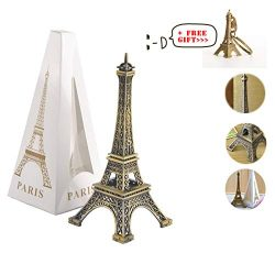 Metal French Eiffel Tower Statue Figurine Replica Centerpiece Room Table Decor Cake Topper Frenc ...