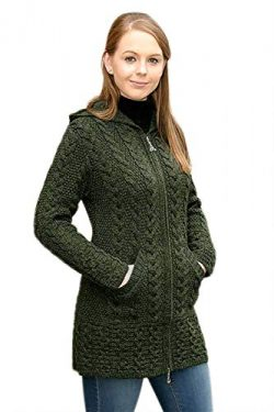 100% Irish Merino Wool Ladies Hooded Aran Zip Sweater Coat, Army Green, Large