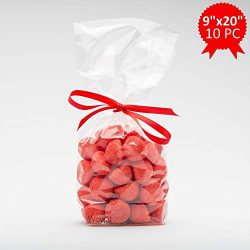 Wowfit 10-Piece Set of 9×20 Clear Cello Cellophane Bags Perfect for Gift, Presents, Wedding ...