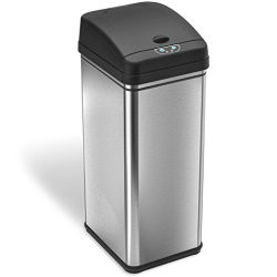 iTouchless 13 Gallon Stainless Steel Automatic Trash Can with Odor-Absorbing Filter, Wide Openin ...