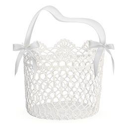 Unomor Flower Girl Basket for Wedding Decoration, Handle with Silk Ribbon and Box Package,5x5x5I ...