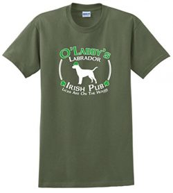 Dog Owner Gifts St Patricks Day Dog Labrador Lab Irish Pub Sign T-Shirt 2XL MlGrn Military Green