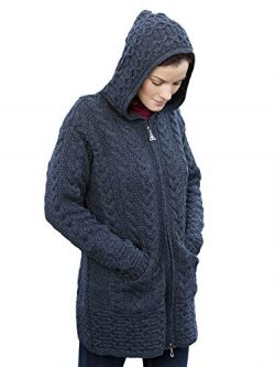 100% Irish Merino Wool Ladies Hooded Aran Zip Sweater Coat, Charcoal, Large