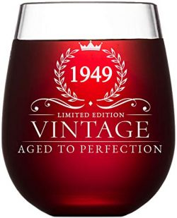 70th Birthday Gifts for Women and Men Turning 70 Years Old – 15 oz. Vintage 1949 Wine Glas ...