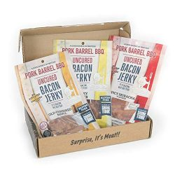 Man Crates Bacon Jerkygram with 3 Flavors of Delicious, Gourmet Bacon Jerky – Great Gifts  ...