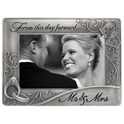 Malden International Designs Mr. & Mrs. Die Cast Metal Waves Frame, 4×6, Silver