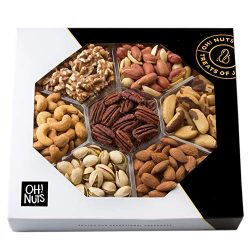 Oh! Nuts Healthy Dry Roasted Salted Nut Gift Basket, Natural 7 Variety Snacks Gourmet Food Gift  ...