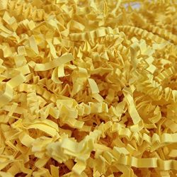 Black Cat Avenue 1 LB Canary Yellow Crinkle Cut Paper Shred Filler for Gift Wrap and Basket Filler