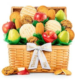 GiftTree Fresh Fruit and Gourmet Cookies Thinking of You Gift Basket | Premium Fresh Pears, Appl ...