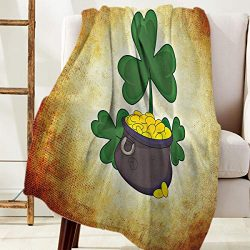 Advancey St. Patrick's Day Theme Green Clover Printed Flannel Fleece Blanket Luxury Soft W ...