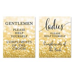 Andaz Press Wedding Party Signs, Glitzy Gold Glitter, 8.5×11-inch, Ladies Gentlemen Bathroo ...