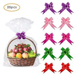 20 Pack 30 X 44 inches Clear Basket Bags Pull Bow Set 10 Pack Packaging Bags Cello Cellophane Wr ...
