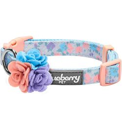 Blueberry Pet 5 Patterns Spring Made Well Lovely Floral Print Dog Collar in Lavender with Detach ...