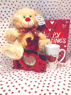 Valentines Day Lovers Gift Basket| 12 inch Teddy Bear Plush(color may vary)| LOVE Flower Box| Lo ...