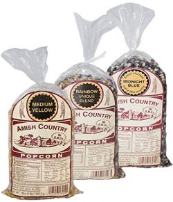 Amish Country Popcorn – 3 (1 lb. Bag Gift Set) Midnight Blue, Rainbow, and Medium Yellow P ...