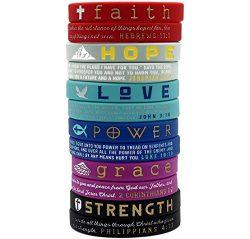 (12-Pack) Christian Inspirational Bible Bracelets, Variety Pack – Faith Hope Love Power Gr ...