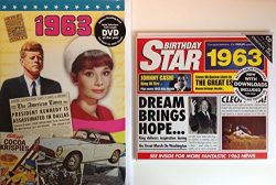 1963 Birthday Gifts Pack – 1963 DVD Film , 1963 Chart Hits CD and 1963 Birthday Card