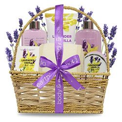 Spa Basket Gift Set for Women: Relaxing at Home Spa Bath Kit – Lavender and Vanilla Scent  ...