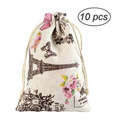 OUNONA 10pcs Linen Drawstring Gift Bag Pouch Rustic Wedding Favors (Eiffel Tower and Flower Pattern)