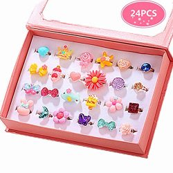 PinkSheep Little Girl Jewel Rings in Box, Adjustable, No Duplication, Girl Pretend Play and Dres ...