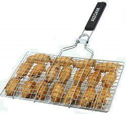AIZOAM Portable Stainless Steel BBQ Barbecue Grilling Basket for Fish,Vegetables, Steak,Shrimp,  ...