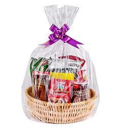 24″x 30″ Clear Cellophane Basket Bags, Cellophane Wrap for Baskets, Gifts (20 Pack)