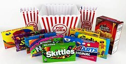 Ultimate Family Movie Night Gift Basket Bundle | Care Package | Nostalgic Red & White Popcor ...