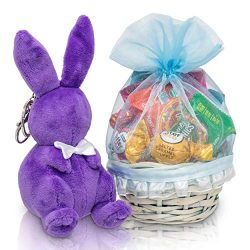 Mini Mothers Day Gift Basket: Healthy Candy Treats & Chocolate Gift Basket With Cute Plush B ...