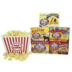 Cousin Willies Gourmet Microwave Popcorn Salty Sweet Variety Pack with Jumbo Plastic Popcorn Tub ...
