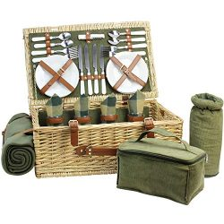 Large Wicker Picnic Basket for 4 with Deluxe Service Set, Natural Willow Picnic Hamper with Food ...