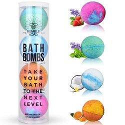 Bath Bombs Gift Set of 4 – Lush All-Natural, Organic, Vegan, Essential oils, Extra Large,  ...