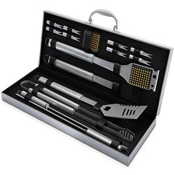 Home-Complete BBQ Grill Tool Set- 16 Piece Stainless Steel Barbecue Grilling Accessories with Al ...