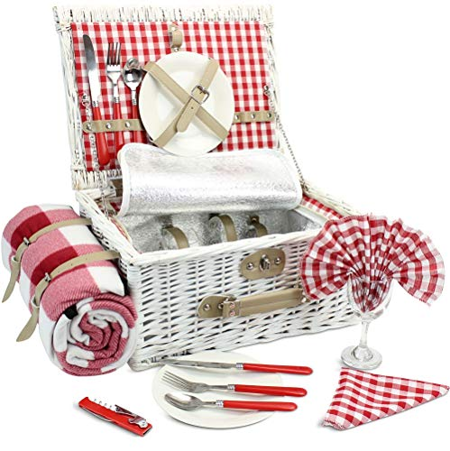 INNO STAGE Romantic Wicker Picnic Basket for 2 Persons, Special White Washed Willow Hamper Set w ...
