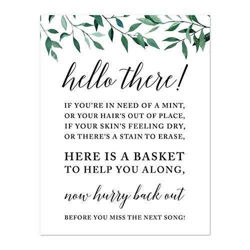 Andaz Press Wedding Party Signs, Natural Greenery Green Leaves, 8.5×11-inch, Ladies Bathroo ...