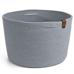 DENJA & CO XXL Extra Large Woven Rope Storage Basket (Grey 21″ W x 13.8″ H) with ...