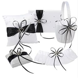 VAlink 5Pcs/lot Romantic Wedding Decoration Set Rhinestone Stain Ribbon Wedding Ring Pillow+ Gir ...