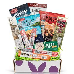 Beef Jerky Sampler Gift Box: Variety Of Healthy Beef Meat Sticks, Pork Rinds, Exotic Jerky, Epic ...