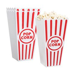 [Novelty Place] Plastic Red & White Striped Classic Popcorn Containers for Movie Night ̵ ...