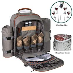 Picnic Backpack Set for 2 to 4 With Blanket, Wine Stand & Glasses, Cutlery, Dinnerware, Deta ...