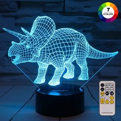 ZOKEA Night Lights for Kids Dinosaur 3D Night Light Bedside Lamp 7 Colors Changing with Remote C ...