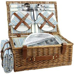 HappyPicnic Wicker Picnic Basket Set for 4 Persons | Large Willow Hamper with Large Insulated Co ...
