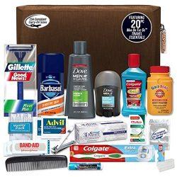 Convenience Kits Men's Premium 20-Piece Necessities Travel Kit, Featuring: Dove Men & Care P ...