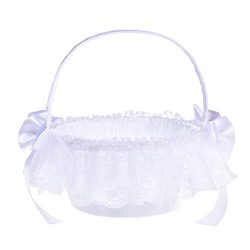 Maikouhai New Romantic Bowknot Silk Cloth Wedding Ceremony Party Rose Flower Girl Basket for Par ...